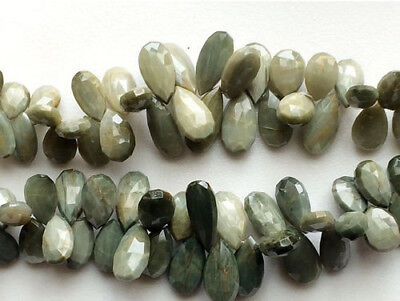 65 Carat 14 Pcs, Cats Eye Beads, Pear Briolettes, Faceted Cats Eye Gemstone