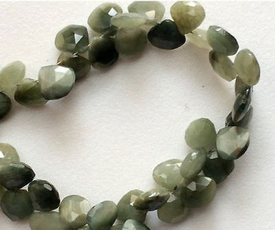 86 Carat 60 Pcs Cats Eye Stone, Heart Briolettes Faceted Cats Eye Beads Necklace