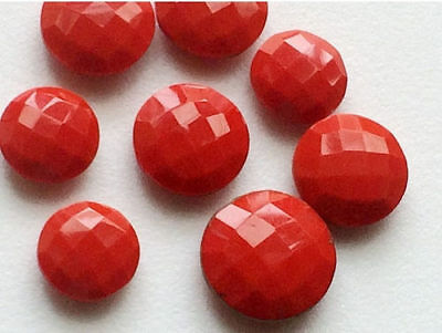 6 Pcs Coral Stones, Heart Coral Gems, Checkered Round Coral, Loose Coral Gems