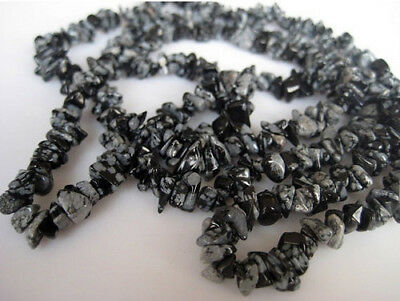 "36"" 5 Strands Wholesale Snowflake Obsidian Chips, Snowflake Obsidian Gems Beads"