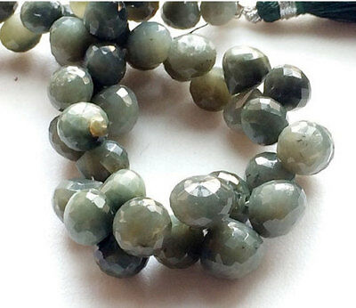 """107.5 Carat 14"""" Strand, Cats Eye Beads, Onion Briolettes, Faceted Cats Eye Gems"""