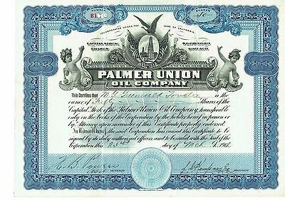 Palmer Union Oil Company Stock.  Uncancelled Certificate Bond Gold