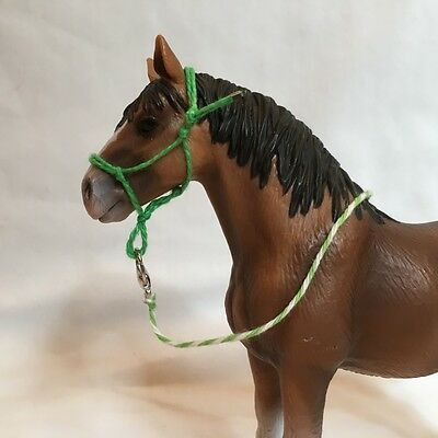 Handamade Schleich Draft Horse Rope Halter with Lead- Green