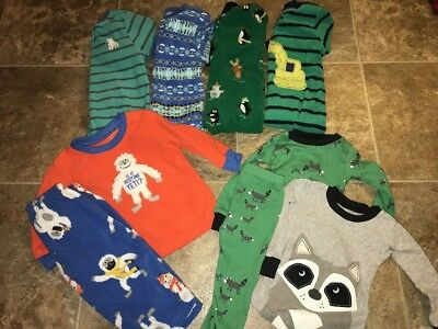 Boys 9 Pc Carter's Sleepers Two Piece Cotton Pajamas Footed 12 Month #13