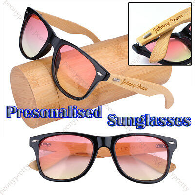 Personalised Engraving Bamboo Wood 2 tone UV400 lens Sunglasses Bridesmaid Gift