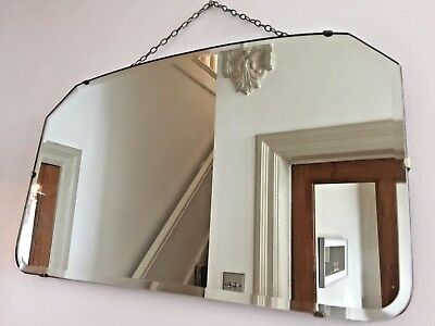ORIGINAL VINTAGE Bevelled Edge Frameless Wall MIRROR Art Deco 1930s 40s 56X33cm