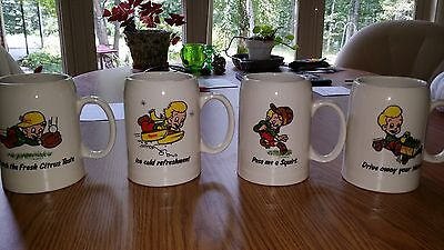 Set of 4 Rare Squirt Soda Large Ceramic Steins Mugs