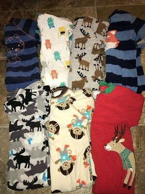 Boys 7 Pc Carter's Sleepers Pajamas Footed 12 Month #15