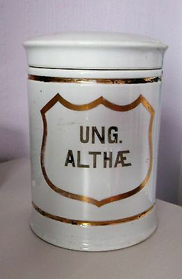 Antique Large Lidded Pottery Pharmacy/Apothecary Drug Jar - Ung Althae
