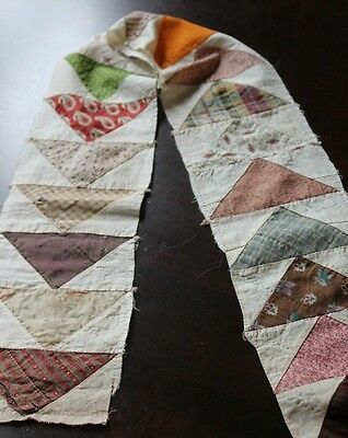 Vtg Antique Flying Geese Quilt Block Strip w/ 19th Century Cotton Fabrics Calico