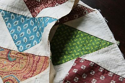 Vtg Antique Flying Geese Quilt Block Strip w/19th Cent Cotton Fabrics Calico B