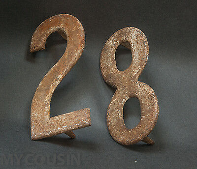 Large Antique Iron House Numbers 28 or 82, Spikes on the back for nailing. OLD