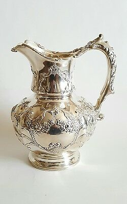 Exquisite 19C Gorham Sterling Silver Repousse Water Pitcher