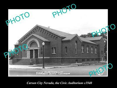 OLD LARGE HISTORIC PHOTO OF CARSON CITY NEVADA, THE CIVIC AUDITORIUM c1940