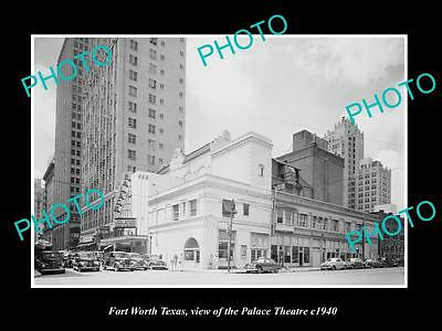OLD LARGE HISTORIC PHOTO OF FORT WORTH TEXAS, VIEW OF THE PALACE THEATRE c1940