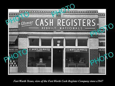 OLD LARGE HISTORIC PHOTO OF FORT WORTH TEXAS, THE CASH REGISTER Co BUILDING 1947