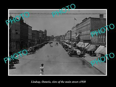 OLD LARGE HISTORIC PHOTO OF LINDSAY ONTARIO, VIEW OF THE MAIN STREET c1930