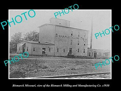 OLD LARGE HISTORIC PHOTO OF BISMARCK MISSOURI, THE BISMARCK MILLING Co c1930