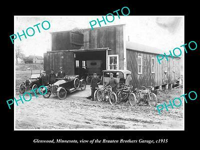 OLD LARGE HISTORIC PHOTO OF GLENWOOD MINNESOTA, BRAATEN BROS MOTOR GARAGE c1915