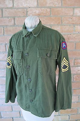 Vintage 1961 Early VIETNAM 3RD ARMY Cotton Shirt w/ Peace Sign On Back; SMALL