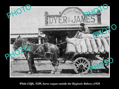 OLD LARGE HISTORIC PHOTO OF WHITE CLIFFS NSW, VIEW OF THE BAKERY c1900