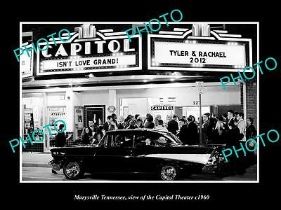 OLD LARGE HISTORIC PHOTO OF MARYSVILLE TENNESSEE, THE CAPITOL THEATER c1960