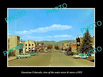 OLD LARGE HISTORIC PHOTO OF GUNNISON COLORADO, THE MAIN STREET & STORES c1955