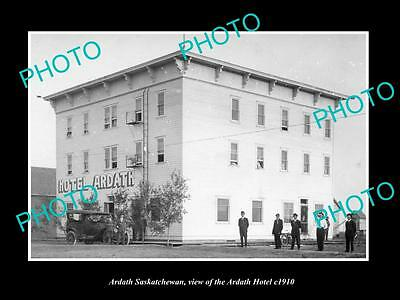OLD LARGE HISTORIC PHOTO OF ARDATH SASKATCHEWAN, VIEW OF THE ARDATH HOTEL c1910
