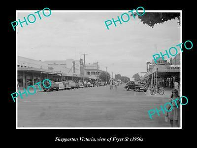 OLD LARGE HISTORIC PHOTO OF SHEPPARTON VICTORIA, VIEW OF FRYER STREET c1950