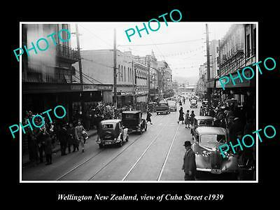 OLD LARGE HISTORIC PHOTO OF WELLINGTON NEW ZEALAND, VIEW OF CUBA STREET c1939