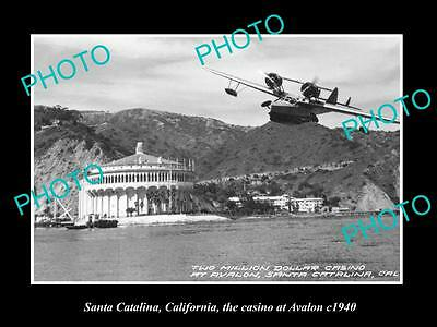 OLD LARGE HISTORIC PHOTO OF SANTA CATALINA CALIFORNIA, THE AVALON CASINO c1940