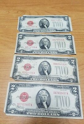 1928 (4)-Notes $2 Red Seal US Note Two Dollar Bill.. 4 Bills Total