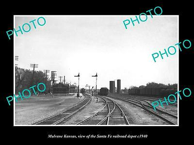 OLD LARGE HISTORIC PHOTO OF MULVANE KANSAS, THE SANTA FE RAILROAD STATION c1940