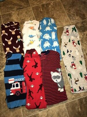 Boys 7 Pc Carter's Sleepers Pajamas Footed 4T #21 Pants