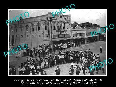 OLD LARGE HISTORIC PHOTO OF GRANGER TEXAS, VIEW OF THE MAIN STREET c1910