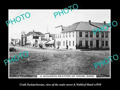 OLD LARGE HISTORIC PHOTO OF CRAIK SASKATCHEWAN, THE MAIN St & HOTEL c1910