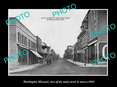 OLD LARGE HISTORIC PHOTO OF WASHINGTON MISSOURI, THE MAIN STREET & STORES c1910