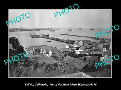 OLD LARGE HISTORIC PHOTO OF VALLEJO CALIFORNIA, THE MARE ISLAND WHARVES c1870