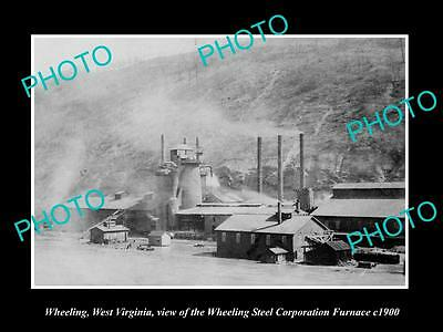 OLD LARGE HISTORIC PHOTO OF WHEELING WEST VIRGINIA, THE STEEL Co FURNACE c1900