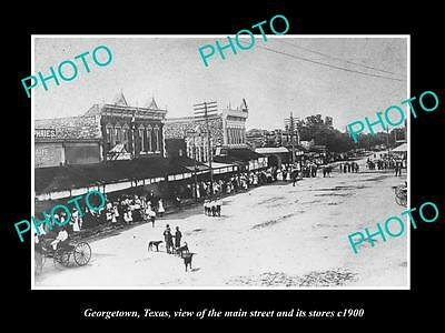 OLD LARGE HISTORIC PHOTO OF GEORGETOWN TEXAS, VIEW OF MAIN STREET & STORES c1900