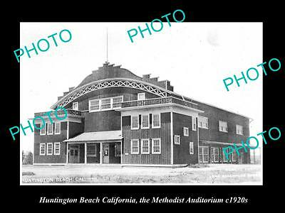 Old Large Historic Photo Of Huntington Beach California, The Methodist Hall 1920