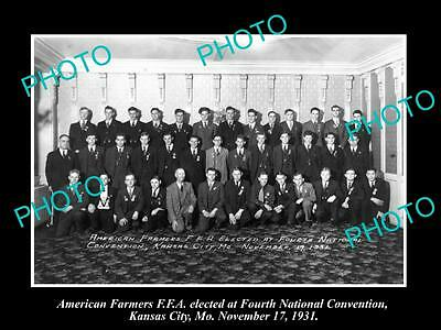 OLD LARGE HISTORIC PHOTO OF KANSAS CITY, FFA AMERICAN FARMERS CONVENTION c1931