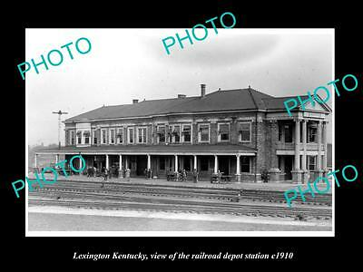 OLD LARGE HISTORIC PHOTO OF LEXINGTON KENTUCKY, THE RAILROAD DEPOT STATION c1910