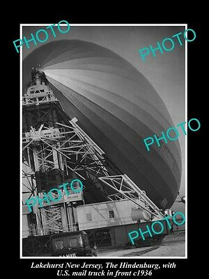 OLD LARGE HISTORIC PHOTO OF LAKEHURST NEW JERSEY, THE HINDENBURG ZEPPELIN c1936