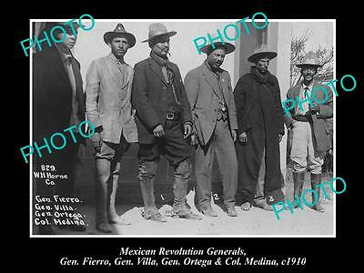 OLD LARGE HISTORIC PHOTO OF PANCHO VILLA WITH MEXICAN REVOLUTION LEADERS c1910