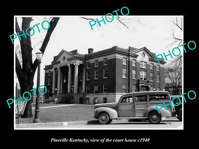 OLD LARGE HISTORIC PHOTO OF PINEVILLE KENTUCKY, VIEW OF THE COURT HOUSE c1940