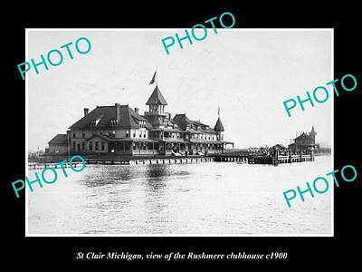 OLD LARGE HISTORIC PHOTO OF ST CLAIR MICHIGAN, THE RUSHMERE CLUBHOUSE c1900