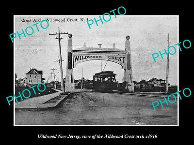 OLD LARGE HISTORIC PHOTO OF WILDWOOD NEW JERSEY, THE WILDWOOD CREST ARCH c1910