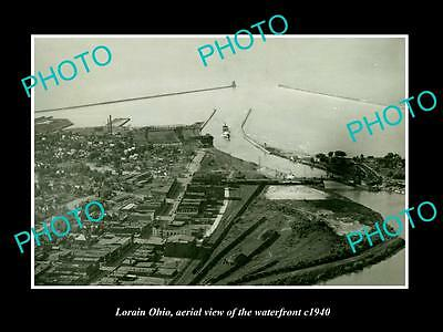 OLD LARGE HISTORIC PHOTO OF LORAIN OHIO, AERIAL VIEW OF THE WATERFRONT c1940