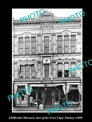 OLD LARGE HISTORIC PHOTO OF CHILLICOTHE MISSOURI, THE CROW CIGAR FACTORY c1890